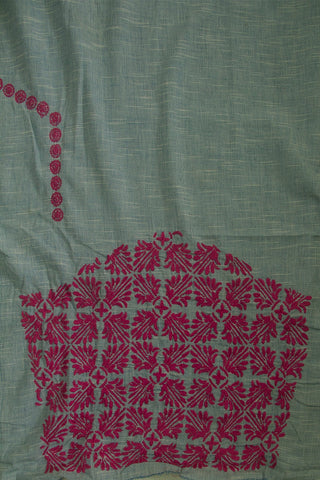 Light Blue with Pink Chikan Work Handwoven Cotton Blouse Fabric