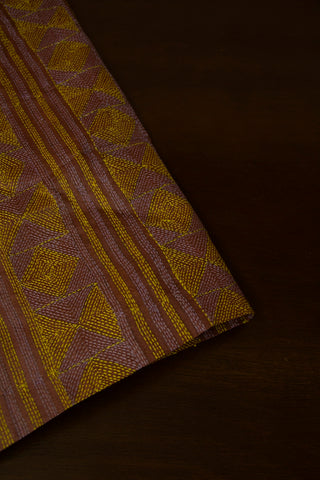 Muted Brown with Grey & Yellow Kantha Work Tussar Silk Blouse