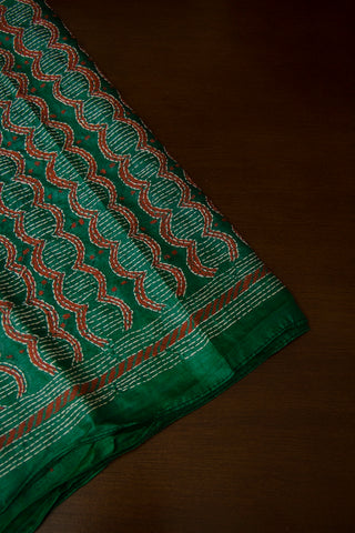 Greyish Green with Red Kantha Full Work Tussar Silk Blouse