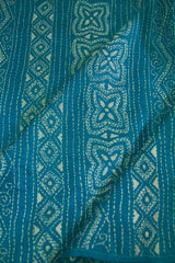 Blue with White Kantha Full Work Tussar Silk Blouse