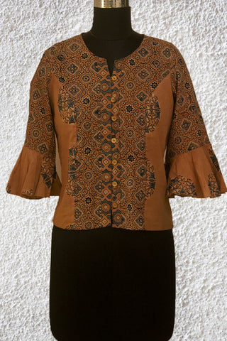 Beige Circles and Stars Ajrak Crop Top with Bell Sleeves- 36 Size