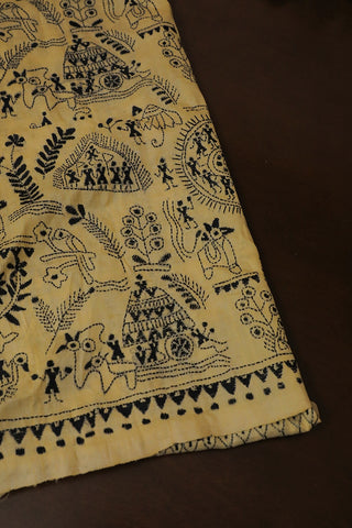 Light Beige with Black Warli Design Full Work Kantha Tussar Silk Blouse