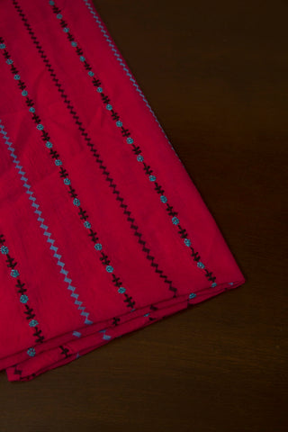 Pink with Blue Handwoven Chikan Work Cotton Blouse Fabric
