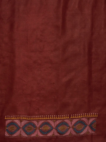 Maroon with Pink Handworked Kantha tussar silk Blouse