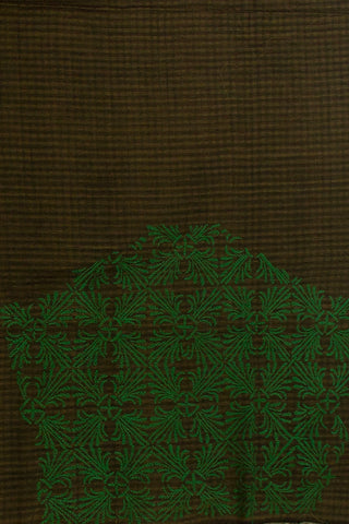 Grey with Green Chikan Work Cotton Blouse Fabric