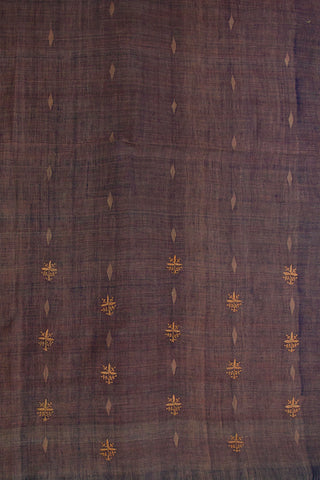 Double Shaded Purple Chikan Work Khadi Jamdani Fabric