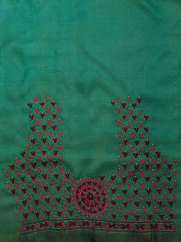 Light Greyish Green with Pink Kantha Work Tussar Silk Fabric