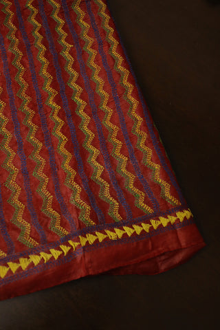 Brownish Maroon Zig Zag Full Work Kantha Tussar Silk Blouse