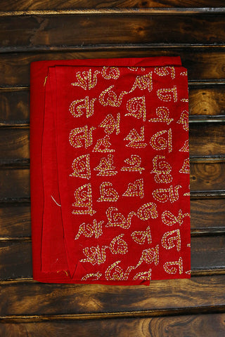 Red with Letters Embroidered Cotton Blouse Fabric