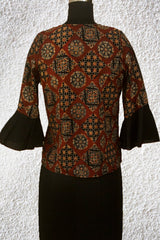 Maroon with Black Ajrak Crop Top with Bell Sleeves- 36 & 38 Size