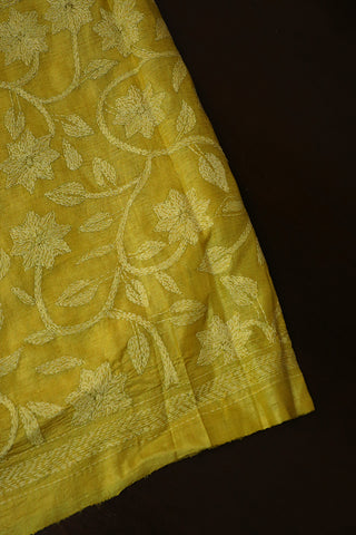 Yellow Floral Full Work Kantha Tussar Silk Blouse