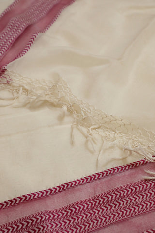 Off White with Pink Maheshwari Silk Cotton Dupatta
