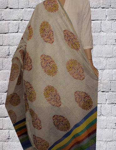 Big Flower Sanganeri Block Printed Chanderi dupatta