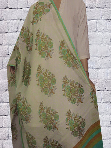 White with Green Sanganeri Bolck Printed Chanderi dupatta