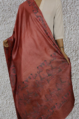 Fishes in Pinkish Maroon Kantha Embroidered Silk Dupatta
