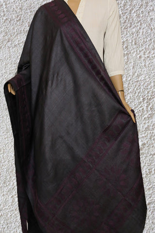 Dark Grey with Purple Hand Embroidered Kantha Work Silk Dupatta