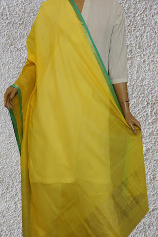Lemon Yellow Maheshwari Silk Cotton Dupatta