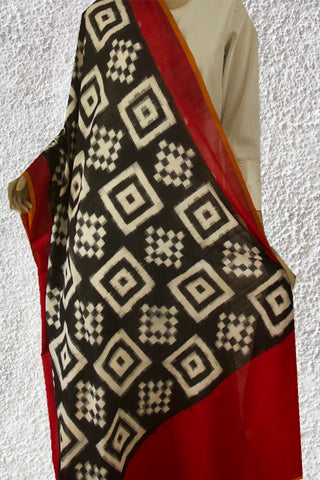 White Squares Handwoven Ikat Cotton Dupatta