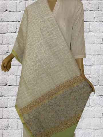 Grey with Off White Sanganeri Bolck Printed Chanderi dupatta