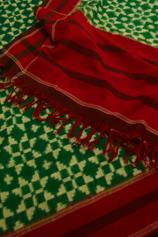 Green with Off White Telia Rumal Handwoven Ikat Cotton Dupatta