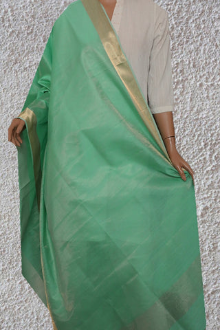 Light Green with Big Zari Border Maheshwari Silk Cotton Dupatta