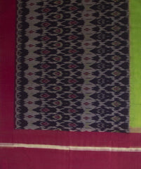 Blue with Purple and Neon Green Border Handwoven Ikat Cotton Dupatta