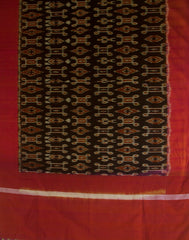 Peach Pink with Black Handwoven Ikat Cotton Dupatta