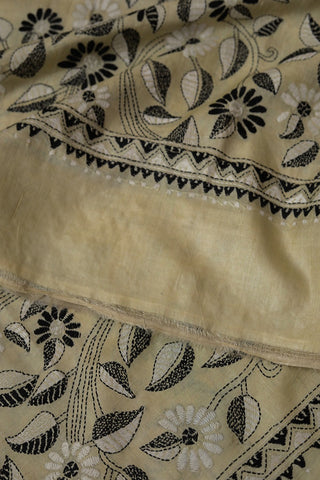 Off White with Black Hand Embroidered Kantha Work Silk Dupatta