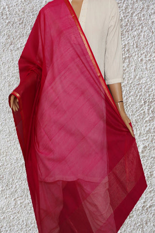 Dark Pink with Small Zari Border Maheshwari Silk Cotton Dupatta