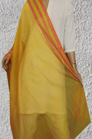 Yellow with Pink Thread Border Maheshwari Katan Silk Cotton Dupatta