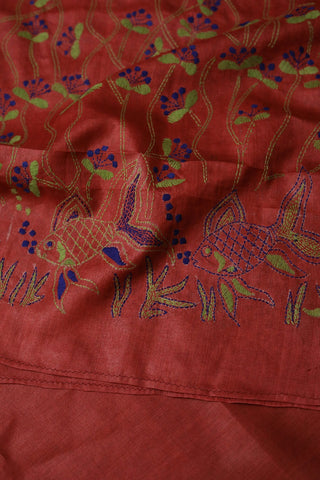 Fishes in Maroon Hand Embroidered Kantha Work Silk Dupatta