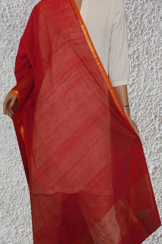 Maheshwari Silk Cotton Dupatta with Small Zari Border