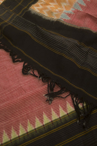 Peach with Orange Missing Weaves Handwoven Ikat Cotton Dupatta