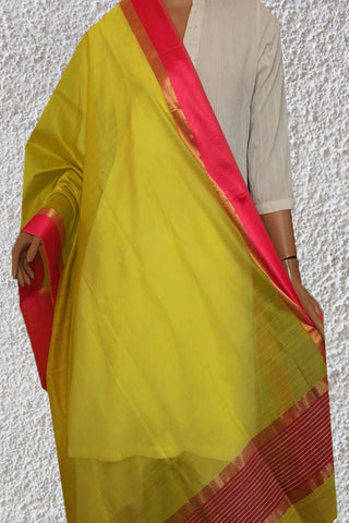Yellowish Green with Pink and Zari Border Maheshwari Silk Cotton Dupatta
