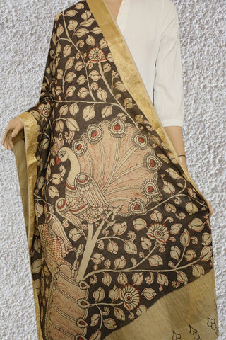 Grey with Beige Peacock Maheshwari Silk Cotton Painted Kalamkari Dupatta