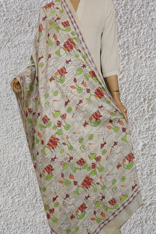 Lotus Pond Hand Embroidered Kantha Work Silk Dupatta