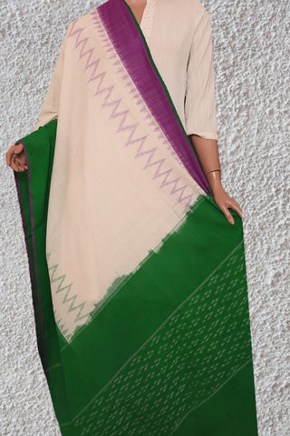 Off White with Purple and Green Handwoven Ikat Dupatta