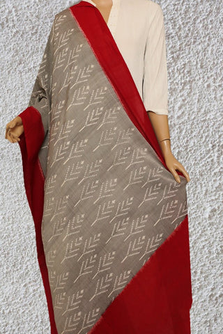 Grey with Red Handwoven Ikat Dupatta