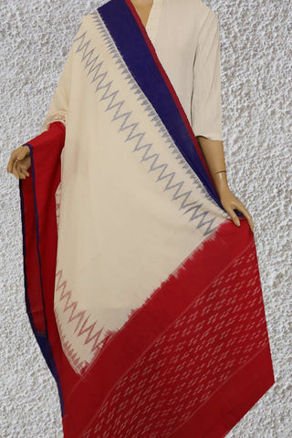 Off White with Blue and Red Handwoven Ikat Dupatta