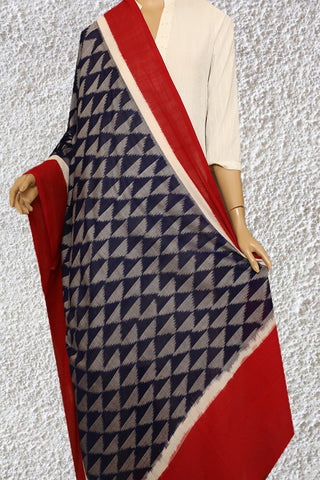Grey with Blue Triangle Handwoven Ikat Dupatta