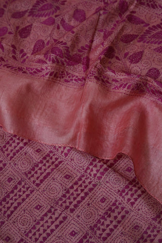 Purple Pink Hand Embroidered Kantha Work Silk Dupatta