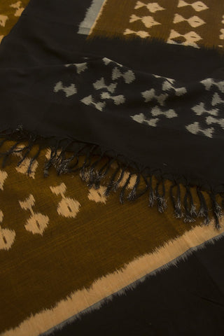 Honey Brown with Black Handwoven Ikat Cotton Dupatta