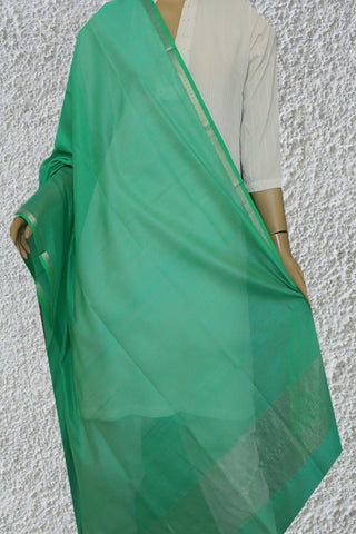 Blueish Green Maheshwari Silk Cotton Dupatta