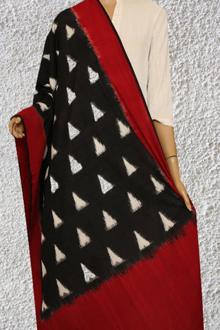 Black with Off White Triangle Handwoven Ikat Dupatta