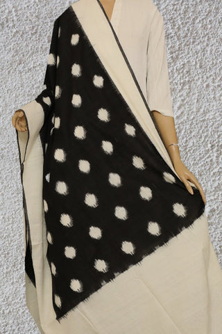 Off White Dots Handwoven Ikat Dupatta