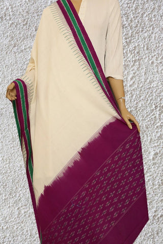 Purple with Off White Handwoven Ikat Dupatta