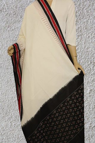 Black with Off White Handwoven Ikat Dupatta