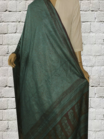 Green Blue Bagh Block Printed Tussar Silk Dupatta