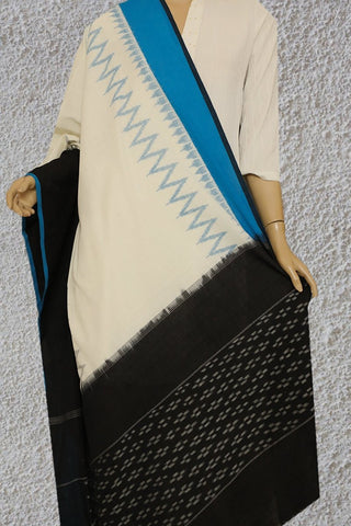 Black with Sky Blue Handwoven Ikat Dupatta
