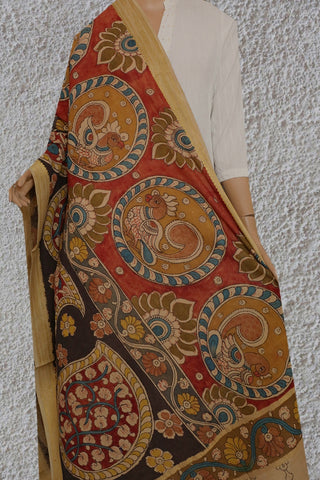 Grey with Faded Maroon Painted Kalamkari Cotton Dupatta